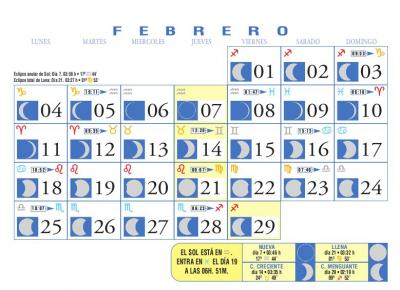 Calendario Lunar de Febrero 2008